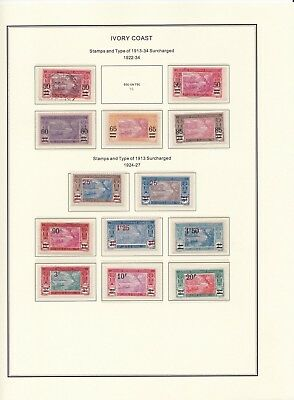 France Colonies Ivory Coast 1922-1937 on 4 Pages