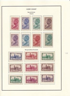 France Colonies Ivory Coast 1936-44 on 4 Pages