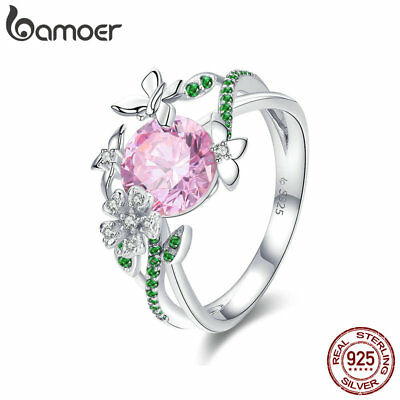 Bamoer solid 925 Sterling Silver Finger Ring Secret Garden With AAA CZ for Women