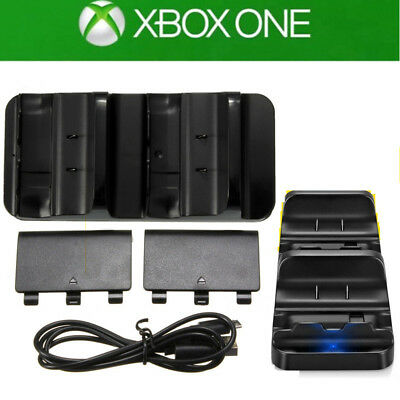 USB Dual Controller Charger Dock Charging Station+ 2 Free Battery For Xbox One/S