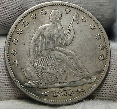 1873 Seated Liberty Half Dollar 50C - Nice Coin, Free Shipping (6881)
