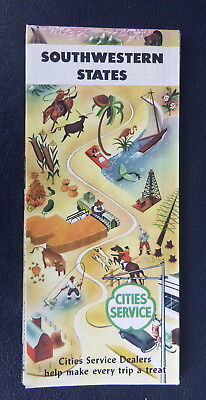 1954 Southwesternl United States road map Cities Service gas route 66 CA AZ NM