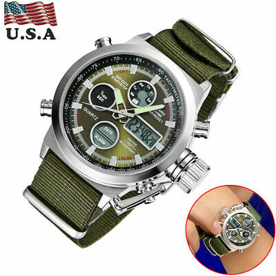 OHSEN Mens Digital Analog LED Military Big Dial Sports Wrist Watch Army Green US