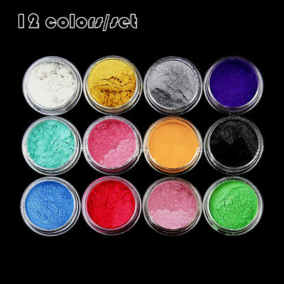 12 Color Pigments Mica Powder For Makeup Soap Cosmetics Resin Colorant Dye New
