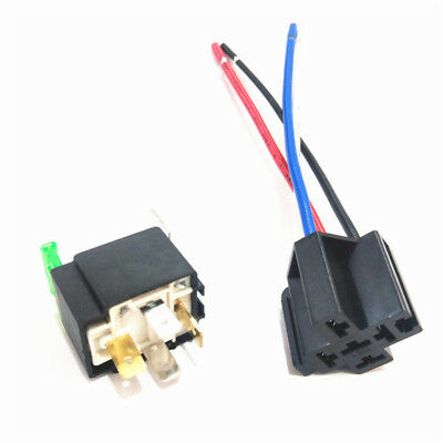 12V Car Automotive On/Off Fused Relay 30A 4-Pin with Holder Socket #IN9X