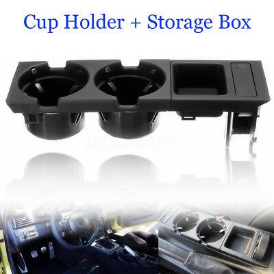 Black Center Console Coin Tray Box+Cup Holder Suit for BMW3 Series E46 MA1777