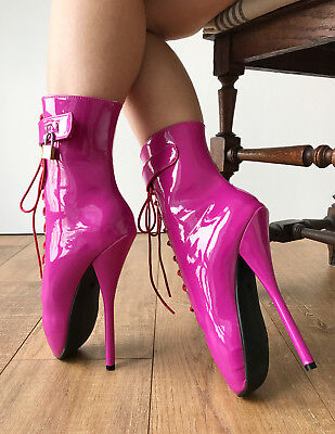 RTBU TRAP Ballet Stiletto Lockable Boots Padlock Restrain Hot Pink Patent