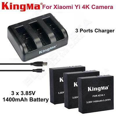 3x3.85V 1400mAh Battery+3-Slot Charger fr Xiaomi YI 4K Action Camera Video Black
