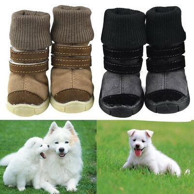 4PCS Anti Slip Protective Rain Boots Pet Dog Waterproof Shoes Warm S/M/L Puppy
