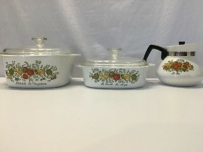 Vintage Retro Corning Ware Pyrex Set Casserole Coffee Pot Teapot Spice Of Life