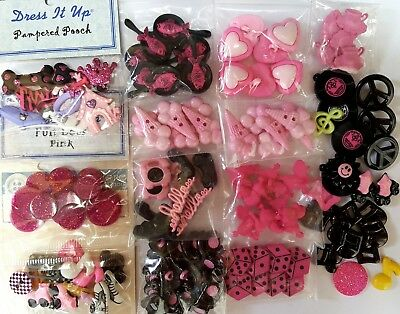 RETRO GIRL Dress It Up Buttons Galore Craft Pink Telephone Poodle Ice Cream Dice