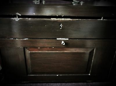Large Vintage Wooden Travelling Case Drawers Samples ? No Key Brass Corners
