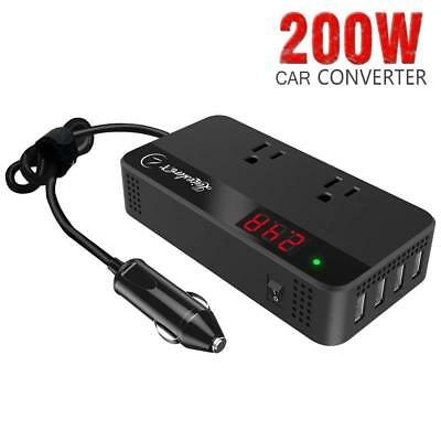 Car Power Inverter Converter with Smart 4 USB Ports DC 12V to AC 110V 200W Black