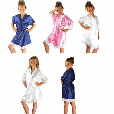 Nine X Satin Children Robe Kids Dressing Gown with Lace 2/4- 12/13yrs Bridesmaid