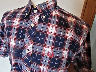 Men's Fred Perry Check Short Sleeve Shirt Medium Large  Mod scooter ska rudeboy