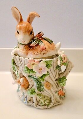 Fitz & Floyd Woodland Spring CANISTER Cookie Jar BUNNY RABBITS Retired