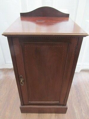 Pot Cupboard Bedside Cabinets Walnut with Inlay  Antique Furniture  Delivery