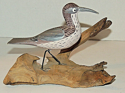 Beautiful Vintage Hand Carved Shore Bird on Driftwood, Hand Painted Figurine