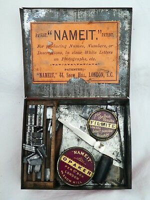 Rare Vintage 'nameit' Set For Lettering Photographs, With Opaker & Filmite Tins
