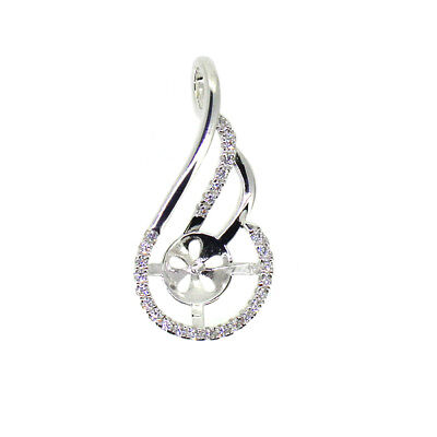 925 Sterling Silver and CZ Stone Pearl Cup and Peg Fancy Bail Pendant (1 piece)