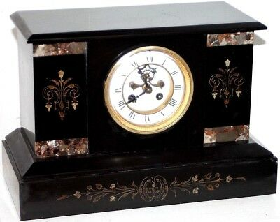 """Antique Xl 1878 """"japy"""" French Inlaid Marble Mantel Clock W/ Open Escapement Dial"""