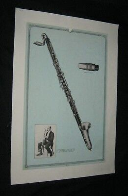 Original 1931 VICTOR TALKING MACHINE BASS CLARINET Advert Poster #11 LINENBACKED
