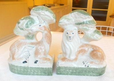 Unusual Vintage Rye Hand Made Pottery Lion And Unicorn Bookends