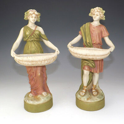 Antique Pair Of Royal Dux Art Nouveau Basket Carrier Figures - Lovely!