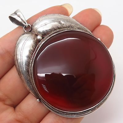 Vtg 925 Sterling Silver Real Extra Large Red Agate Tribal Feather Design Pendant