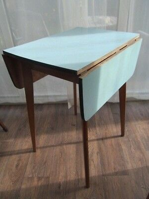 Small Drop Leaf Kitchen Dining Table Blue Formica Top Mid Century Furniture