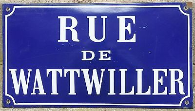 Old French enamel street sign road plaque plate name Wattwiller Strasbourg 1972