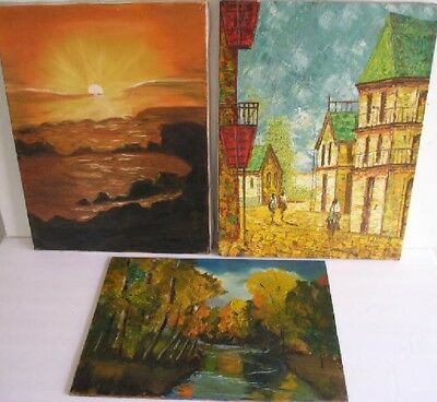 Lot Of 3 Vintage Seascape Cityscape Landscape Oil Paintings