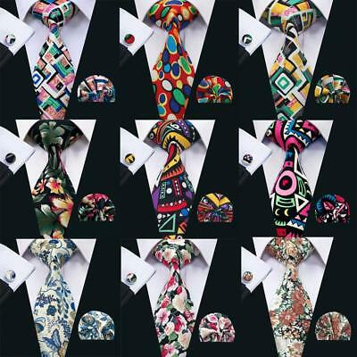 Handmade Mens Ties Red Blue Purple White Cotton Floral Tie and Pocket Square Set