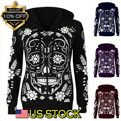 Halloween Women Skull Skeleton Print Jumper Hoodie Sweatshirt Pullover Black Top