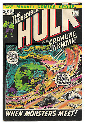 The Incredible Hulk # 151 Marvel Comics 1972 vs.The Crawling Unknown! Betty Ross