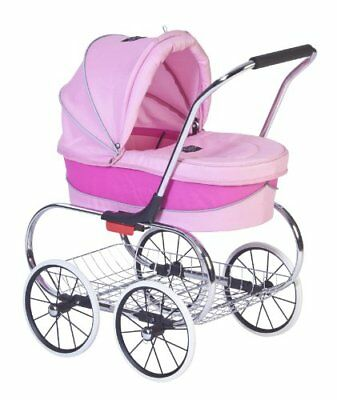 Valco Baby Just Like Mum Deluxe Princess Doll Pram Stroller Hot Pink - Brand New