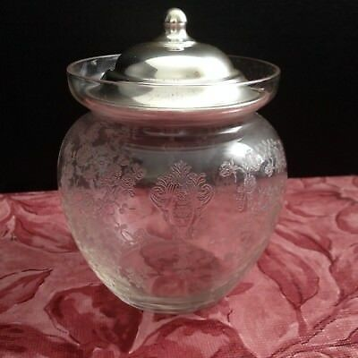 Wallace Silver Etched Condiment Jar with Sterling Top