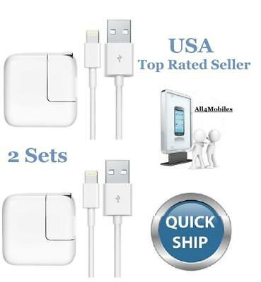 10X - 12 Watt 2.4 AMP Charger & 8 Pin USB Sync Cable for iPad 4 5 6 Mini