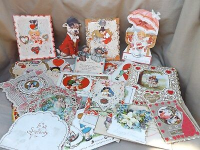 Antique Vintage Lot of Over 50 Valentine, Calling Cards & Misc Items