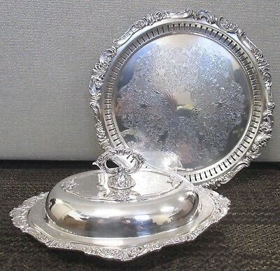 "Vintage Baroque By Wallace Silver Plate Double Vegetable Bowl & 14"" Tray"