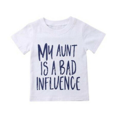 """S-410 Toddlers """"My Aunt is a Bad Influence"""" White T-shirt 2T-5T (Free Shipping)"""