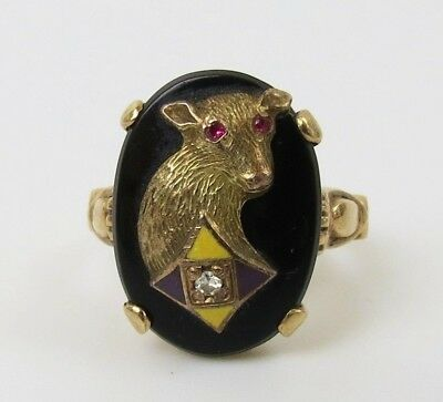 """Vintage 10k Gold diamond synthetic ruby """" Rat or Bat """"  ring Goth beauty baby !"""