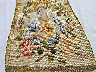 Antique French Tapestry Religious  Wall Hanging Banner