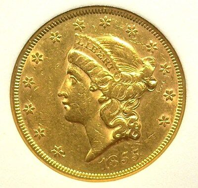 1855 Liberty Head $20 Gold Double Eagle  Nearly Uncirculated  Scarce This Nice!