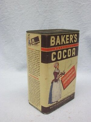 Vintage Baker's Cocoa EMPTY Tin Only Walter Baker & Co. General Foods Corp.