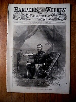 10/8/64 Harper's Weekly  Civil War Major-General Phillip H. Sheridan