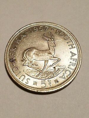 1957 South Africa 1 Crown World Coin 5 Shillings Silver Coin