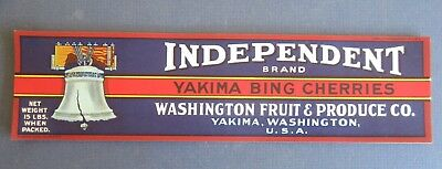 Wholesale Lot of 50 Old Vintage - Independent YAKIMA BING CHERRY - LABELS - Wash