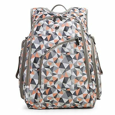 ECOSUSI Diaper Backpack Fully-opened Baby Diaper Bag w Changing Pad Orange Gray