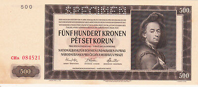 500Korun Aunc Banknote From Bohemia-Moravia 1942!nazi Occupation Issue Pick-12S!